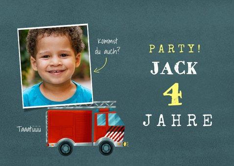 Einladung Kindergeburtstag Feuerwehrauto mit Foto 2