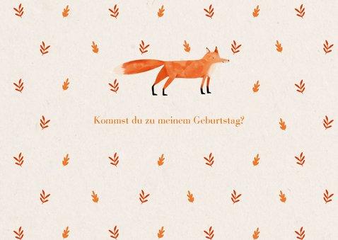 Einladung Kindergeburtstag Foto, herbstliches Muster & Fuchs 2