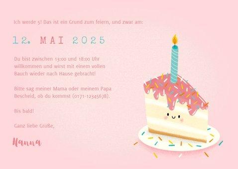 Einladung Kindergeburtstag Foto und Torte mit Kerze 3