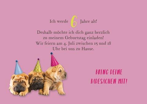 Einladung Kindergeburtstag Hundeparty mit Foto 3