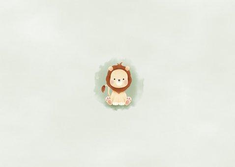 Einladung Kindergeburtstag kleiner Löwe und Foto Rückseite