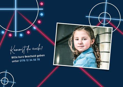 Einladung Kindergeburtstag Lasergame pink mit Foto 2