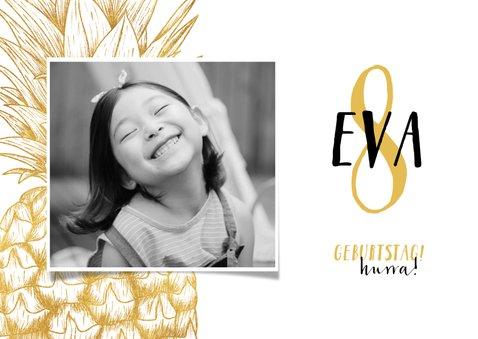 Einladung Kindergeburtstag mit Foto und goldener Ananas  2