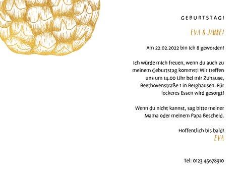 Einladung Kindergeburtstag mit Foto und goldener Ananas  3