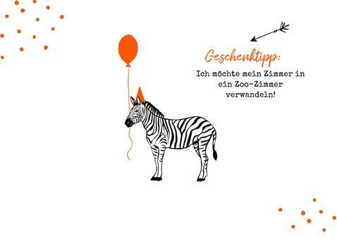 Einladung Kindergeburtstag mit Foto und Zebra 2