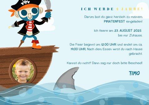 Einladung Kindergeburtstag mit Pirat und Papagei 3