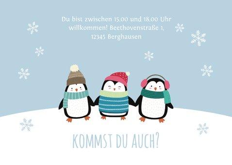 Einladung Kindergeburtstag Party-Pinguine blau 3