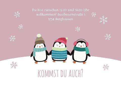 Einladung Kindergeburtstag Party-Pinguine rosa 3