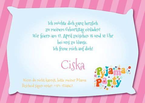 Einladung Kindergeburtstag Pyjamaparty Girls only 3