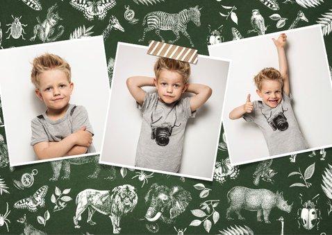 Einladung Kindergeburtstag Safari Tiere mit Foto 2