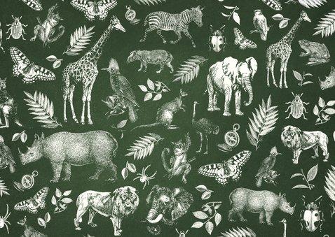 Einladung Kindergeburtstag Safari Tiere mit Foto Rückseite