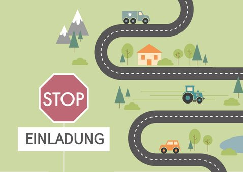 Einladung Kindergeburtstag Straße und Verkehrsschild 2
