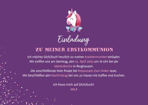 Einladung Kommunion Foto, Einhorn Mädchen 3