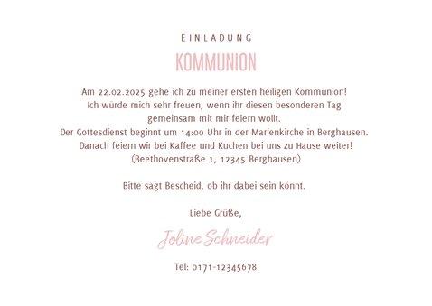 Einladung Kommunion rosa Herzen und Wasserfarbe 3