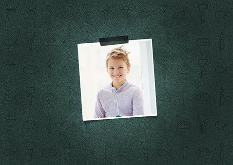 Einladung Konfirmation dunkelgrün Foto & kleine Symbole 2