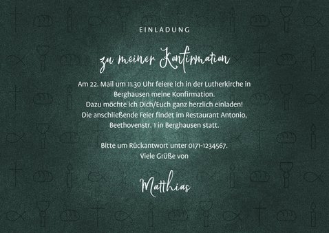 Einladung Konfirmation dunkelgrün Foto & kleine Symbole 3