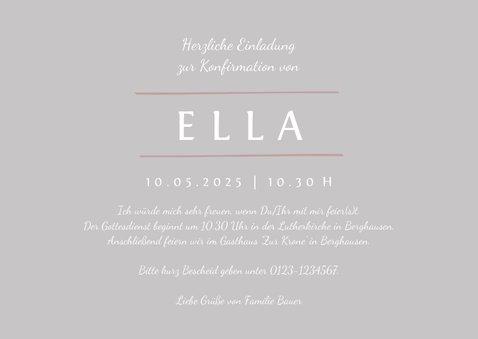 Einladung Konfirmation rosé Foto Eleganz schlicht 3