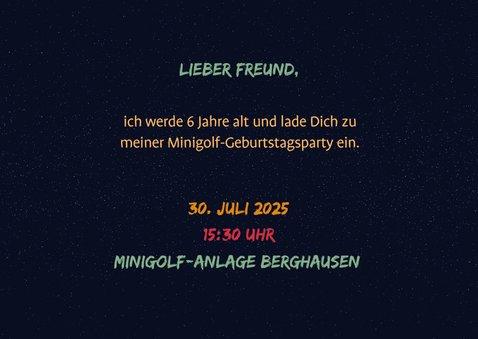 Einladung Minigolf-Party - Funky Lettering 2