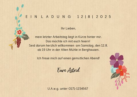Einladung mit Blumen zum Ruhestand 3