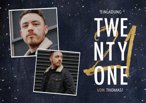 Einladung 'Twenty One' mit Fotos und goldener 21 2