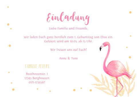 Einladung zum 1. Geburtstag mit Foto und Flamingo 3