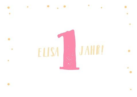Einladung zum 1. Geburtstag rundes Foto und Flamingo 2