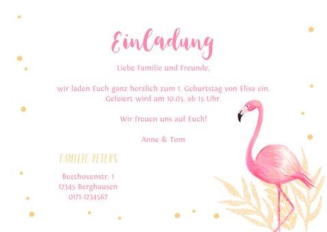 Einladung zum 1. Geburtstag rundes Foto und Flamingo 3