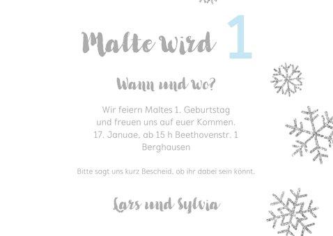 Einladung zum 1. Geburtstag Schneeflocken blau 3