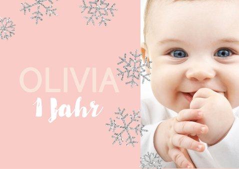 Einladung zum 1. Geburtstag Schneeflocken rosa 2