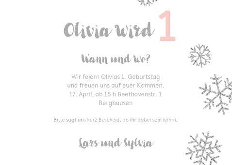 Einladung zum 1. Geburtstag Schneeflocken rosa 3