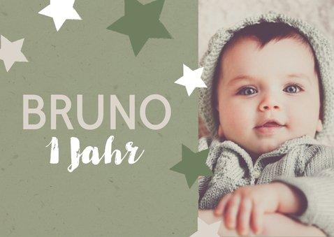 Einladung zum 1. Geburtstag Sterne olivgrün 2