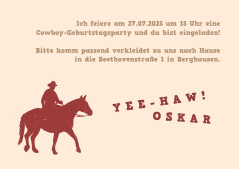 Einladung zum Cowboy-Kindergeburtstag 3