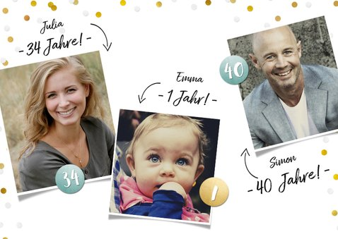 Einladung zum Familiengeburtstag mit Fotos und Konfetti 2