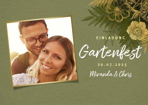 Einladung zum Gartenfest goldene Blumen & Foto 2