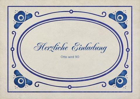 Einladung zum Geburtstag delfterblaue Ornamente 2