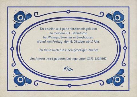 Einladung zum Geburtstag delfterblaue Ornamente 3