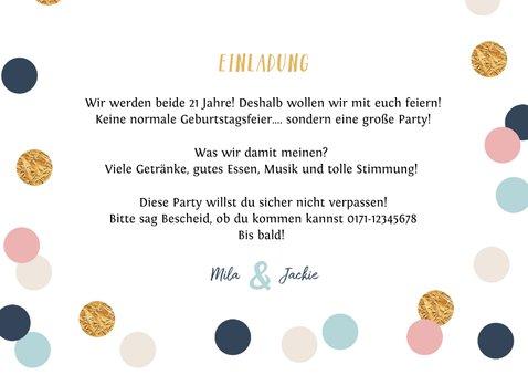 Einladung zum Geburtstag Foto, Pastellfarben und Konfetti 3