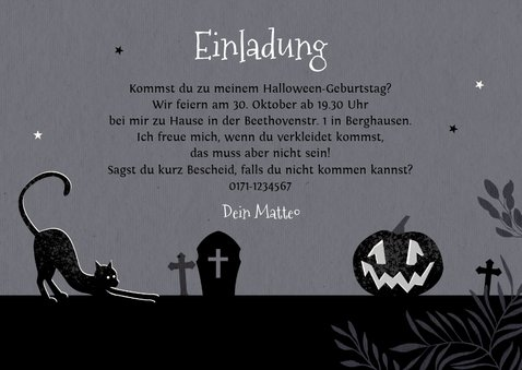 Einladung zum Halloween-Kindergeburtstag Gruselnacht 3