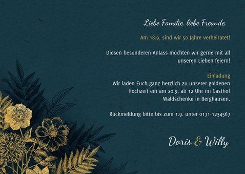 Einladung zum Hochzeitsjubiläum goldene Blumen 3