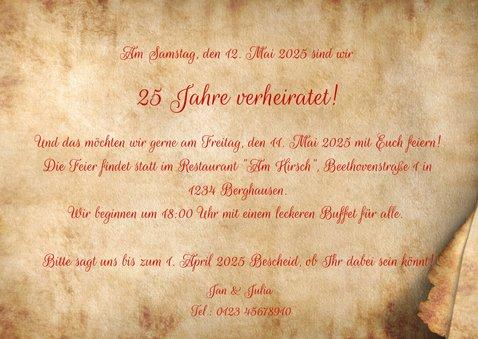Einladung zum Hochzeitstag Pergamentpapier 3