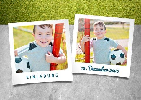 Einladung zum Kindergeburtstag Fußball & Polaroidfoto 2