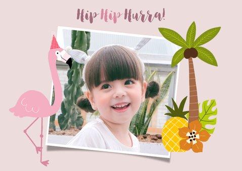 Einladung zum Kindergeburtstag mit Foto, Flamingo und Palmen 2