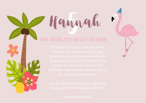 Einladung zum Kindergeburtstag mit Foto, Flamingo und Palmen 3