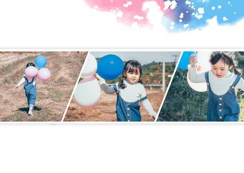 Einladung zum Kindergeburtstag mit Fotos rosa/blau 2