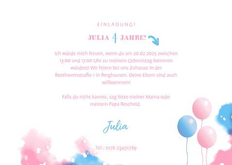 Einladung zum Kindergeburtstag mit Fotos rosa/blau 3