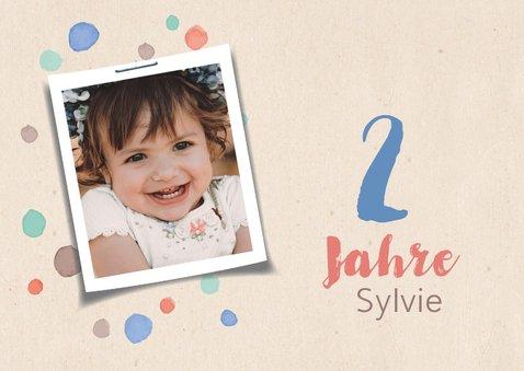 Einladung zum Kindergeburtstag mit Punkten und Foto 2