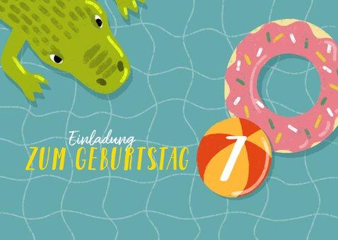 Einladung zum Kindergeburtstag mit Wasser und Krokodil 2