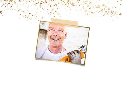 Einladung zur Abschiedsparty Foto & Goldkonfetti 2