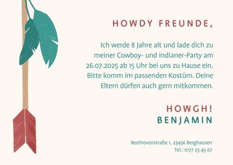 Einladung zur Cowboy- und Indianerparty - Lettering 3