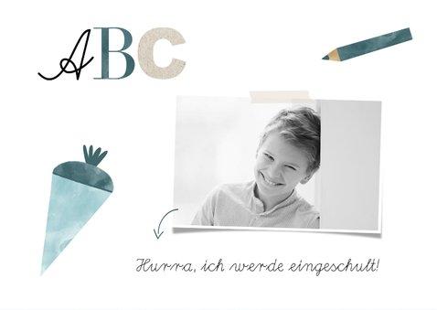 Einladung zur Einschulung ABC blau mit Foto 2